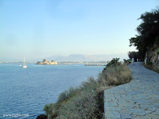 View of #Bourtzi Fortress from the section of #Arvanitia Promenade near the port of #Nafplio, #Argolida - #Greece