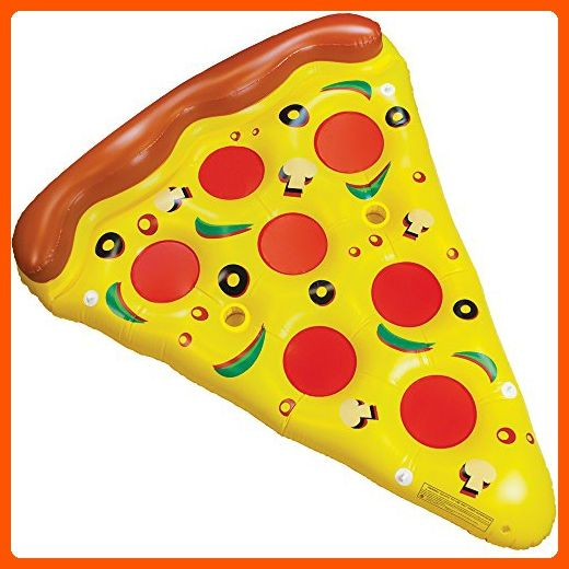 6-Foot Supreme Pizza Slice Swimming Pool Float Water Raft with Cup Holders by Sol Coastal - Fun stuff and gift ideas (*Amazon Partner-Link)