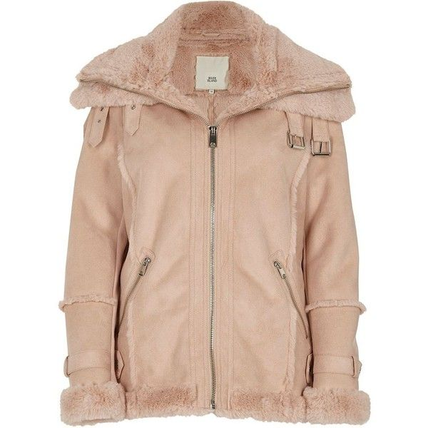 River Island Pink fur trim aviator jacket ($180) ❤ liked on Polyvore featuring outerwear, jackets, coats / jackets, pink, women, aviator jacket, fur trim jacket, long sleeve jacket, faux suede jacket and collar jacket