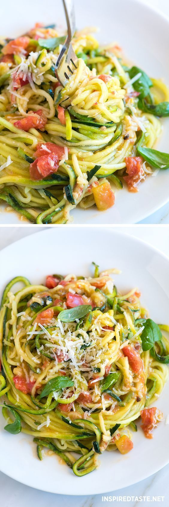 How to make our 20-minute zucchini pasta recipe with garlic, tomatoes, basil, and parmesan cheese.