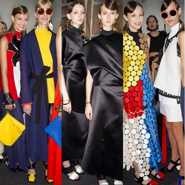Fresh burst of energy coming from Consuelo Castiglioni's @marni.official S/S 2016 show, white, daffodil yellow, lego red and bright blues are making statements at the show.  Wide leg trousers, split tunics, layered dresses, tabard styles and lets look at those rounded cut-out dress worn on top of a minimalist black mini! Swoon! A true Marni signature complication. #MFW