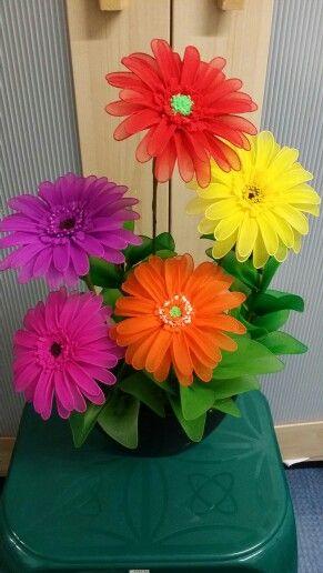 Gerberas, my handmade nylon flowers