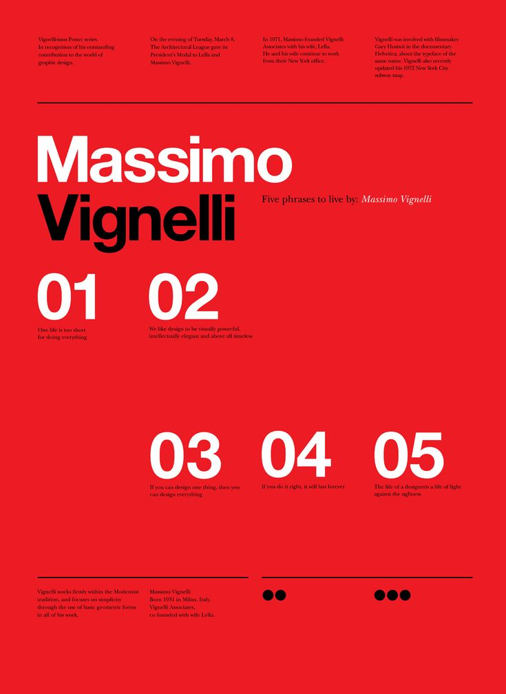 RIP Massimo Vignelli Vignelli tribute poster series by Anthony Neil Dart - a South African born Designer / Director now living and working in Seattle, Washington, USA for Xbox. The Design Blog:facebook |twitter |pinterest |subscribe