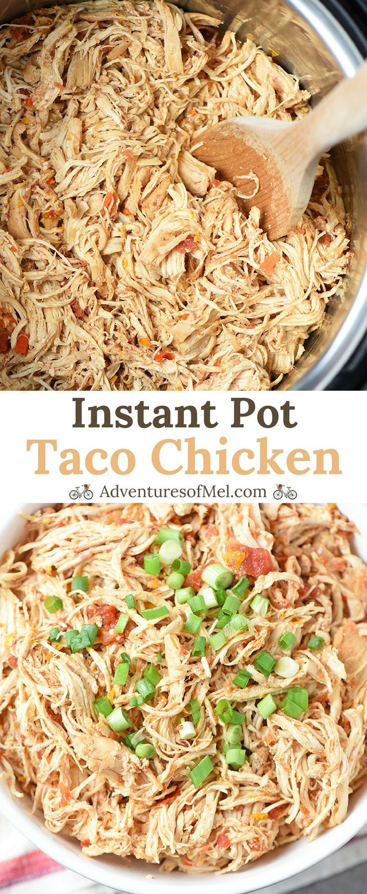 Instant Pot Taco Chicken, homemade with spices and seasonings, fresh pepper and onion, and other flavorful ingredients. Easy to make recipe you can use for tacos, enchiladas, and more. #InstantPot #chicken #tacotuesday #enchiladas #nachos #easyrecipes #dinner