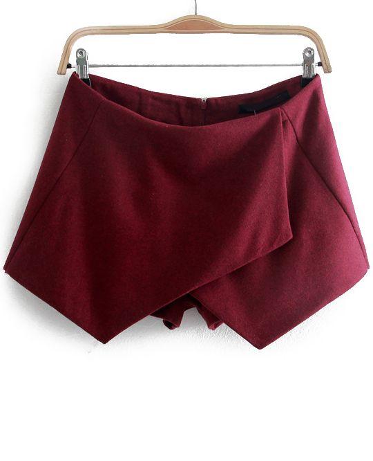 Wine Red Asymmetrical Slim Woolen Shorts - Sheinside.com