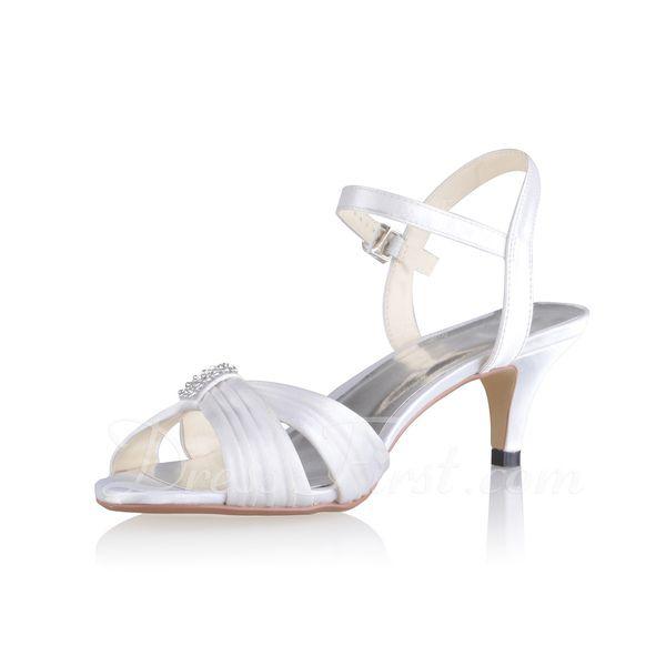 Kvinder sandaler Slingbacks Kegle Hæl silke lignende satin Spænde Bryllupssko