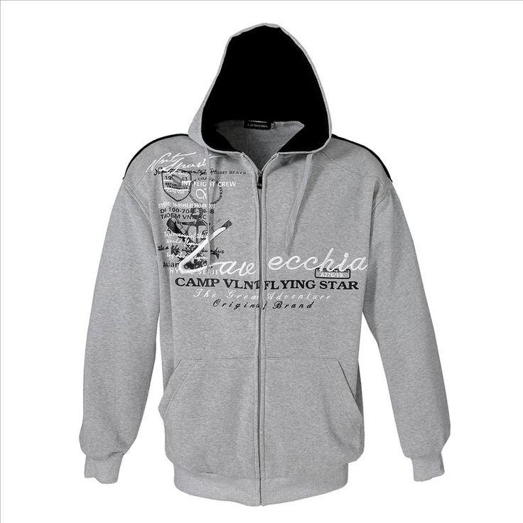 Sweatshirt Jacke Grau Meliert Herrenmode XXL