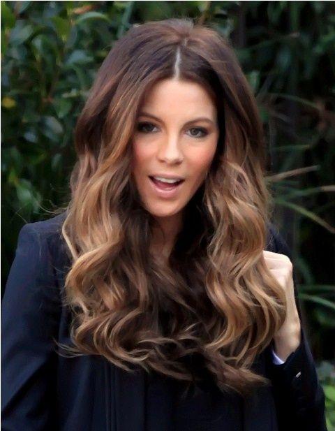 Kate Beckinsale light brown balayage ombre hair. dream hair!!