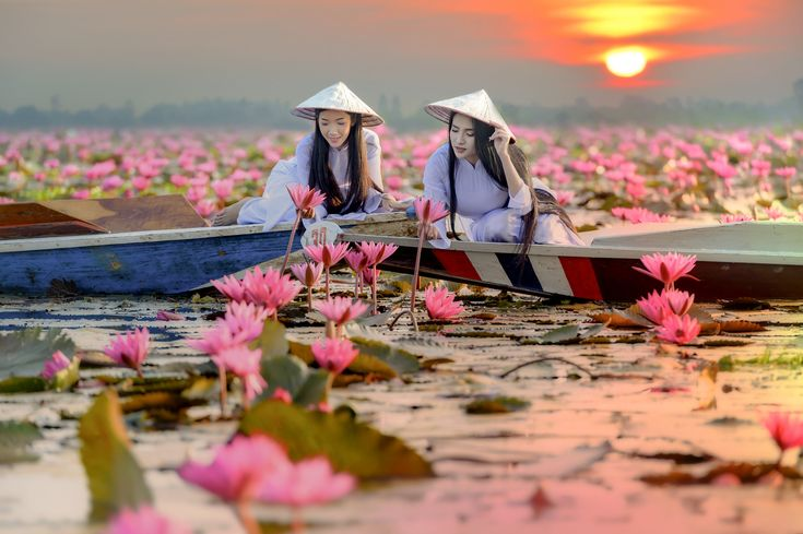 Asian girl in national costume of Vietnam sitting on the boat in - Asian girl in national costume of Vietnam sitting on the boat in Red lotus sea in Undon Thani, Thailand. Unseen in Thailand