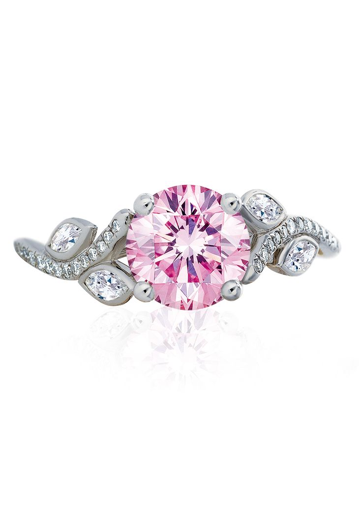 De Beers Adonis Rose Pink Diamond Ring in platinum with a central pink diamond and white diamonds (POA)