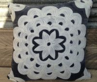Grey Embroidered Square Velvet Cushions | Little Trove