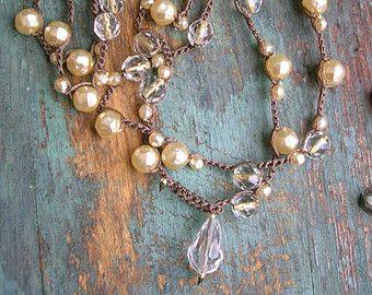 Perle uncinetto collana - Gigi - uncinetto collana paese amazzone Boho gioielli all'uncinetto fienile crema vetro perle damigelle regalo di nozze