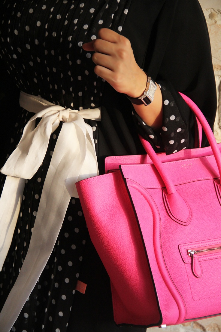 pink celine and polka dot abaya dress