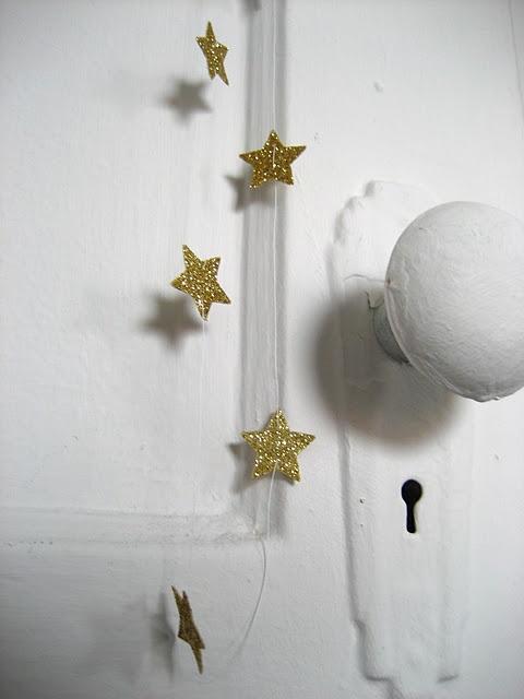 just love: Glitter Stars, Idea, Golden Stars Simple, Xmas, Star Garland, Christmas, Mini, Room