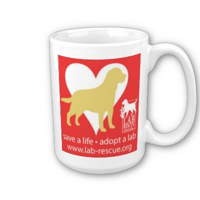 Enjoy coffee or tea while showing your support for Lab Rescue.  This cute 15 oz. mug is available for $17.95.  A portion of your purchase helps further our mission to rescue and provide loving new homes for labs in need. www.lab-rescue.org #lab #adopt #rescue
