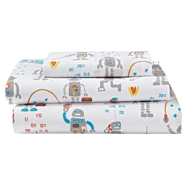 Shop Organic Rad Robot Twin Sheet Set.  We specifically programmed this robot bedding to be both rad and comfortable.  The colorfully printed robots that adorn the sheet set definitely make it rad.