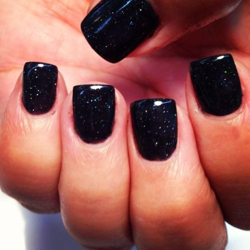 Black Acrylic Nails with Design