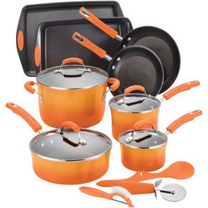 rachael ray 15 piece cookware set good deal at walmart if you will take the orange the red is. Black Bedroom Furniture Sets. Home Design Ideas