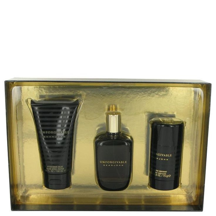 Unforgivable by Sean John Gift Set -- 4.2 oz Eau De Toilette Spray + 3.4 oz After Shave Balm + 2.6 oz Alcohol Free Deodorant StickThis special cologne was created by Sean John, in 2005. The fantastic scent includes an extensive mixture of Sicilian lemon, Italian bergamot, green mandarin, Moroccan tangerine, grapefruit, juniper leaves, birch leaves, champagne accord, Mediterranean air accord, Tuscan basil, Florentine iris, clay sage, lavender, cashmere accord, Australian sandalwood, amber…