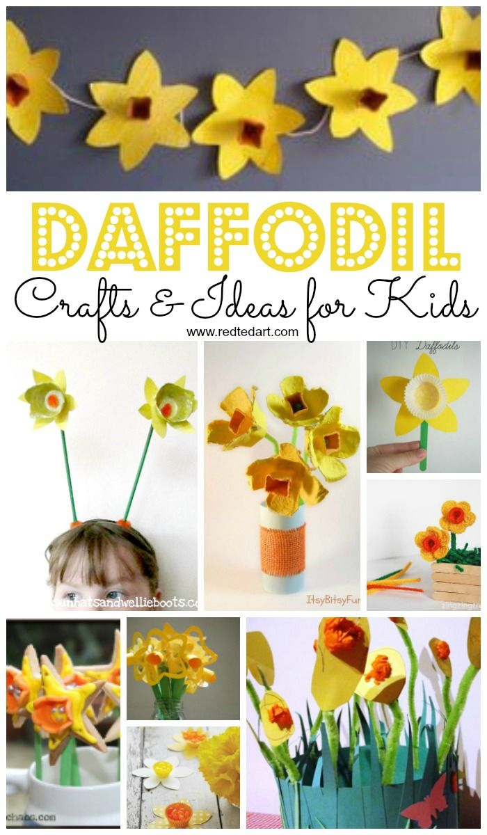 Daffodil Crafts For St David S Day Red Ted Art Make Crafting With Kids Easy Fun Daffodil Craft Spring Flower Crafts Flower Crafts Preschool