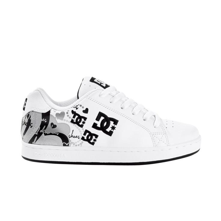 womens dc pixie skate shoe white black silver shoes