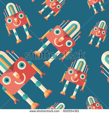 Robot lamp flat icon seamless pattern. #robots #robotics #vectorpattern #patterndesign #seamlesspattern
