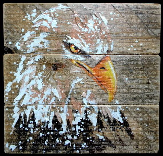 Peinture moderne d'un aigle sur bois