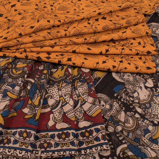 Hand Crafted Orange Printed Kalamkari Cotton Saree 10016002 - AVISHYA.COM