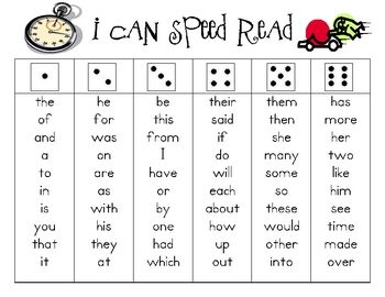 Students roll the dice then read short word list with speed & accuracy - uses 150 High Frequency Words for fluency practice