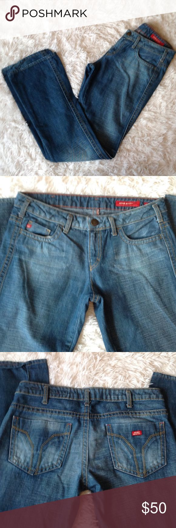"""Miss Sixty basic Italy Jeans Like new pair of medium wash jeans. Great fitting Italian jeans. Inseam 33"""". Size 29. Please ck size chart comparison. They run small. These are in great condition. Miss Sixty Jeans Boot Cut"""