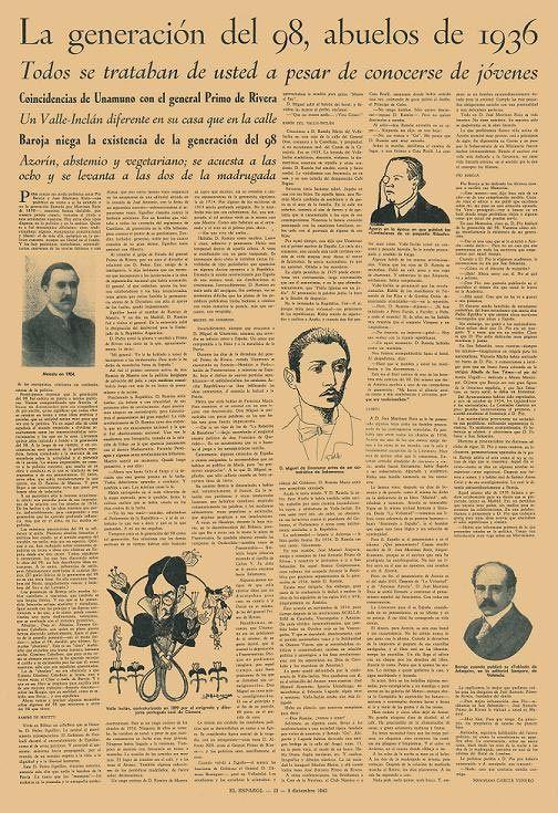 La Generación del 98. En esta página podemos encontrar información interesante sobre el tema, acompañado de algunas fotos y dibujos de los modernistas del 98.