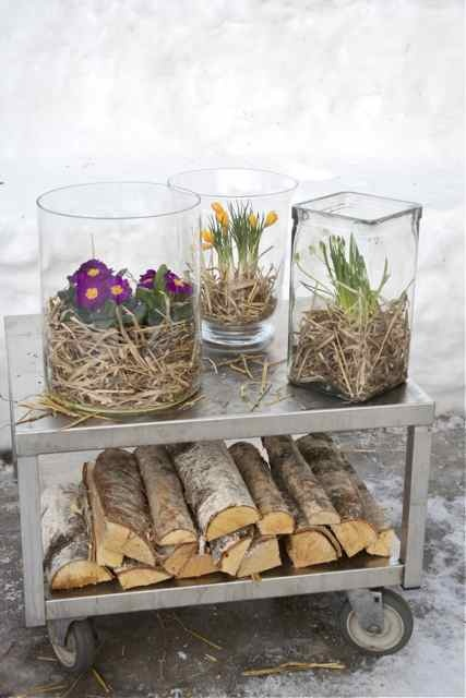 plant inside for spring. palm fiber filler on top of sand. round glass centerpiece...could tint, glitter, paint glass or fiber. love this terrapiece.