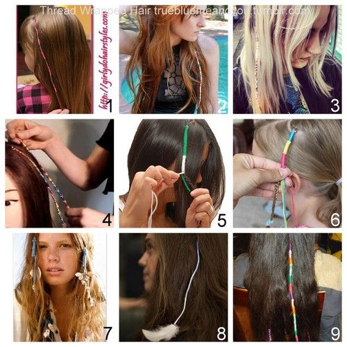 DIY Roundup of 9 Thread Hair Wraps: • Embroidery Floss Hair Wraps by Girly Do Hairstyles here. • Embroidery Floss Hair Wraps by Gina Michele (who did the wrapped ear phones) here. • Embroidery Floss...