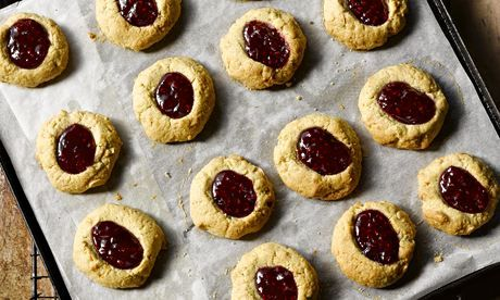 Yotam Ottolenghi's spicy linzer thumbprint cookies: 'In LInz, whole tortes filled with jam are a Christmas treat.' Photograph: Colin Campbel...
