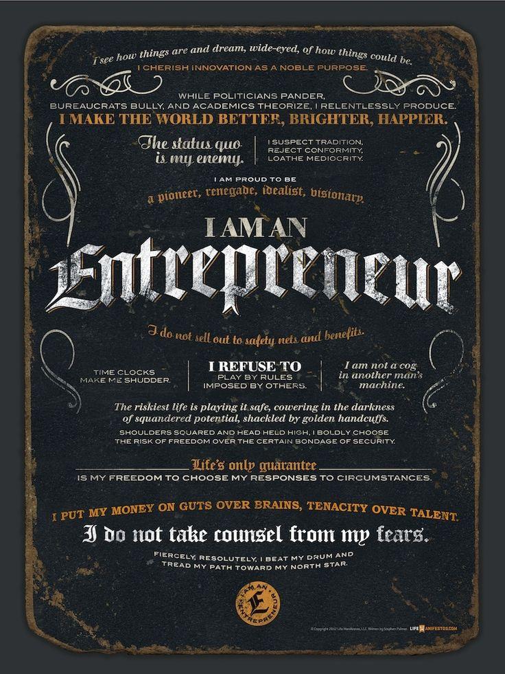 #Entrepreneur Manifesto 18 x 24 Poster #entrepreneurship ...