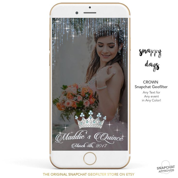SNAPCHAT Geofilter Diamond Crown Birthday GeoFilter, Quince, Quincenera | Custom to any Event | Wedding, Bachelorette, Baby Shower | Sparkle by SnappyDaysCo on Etsy