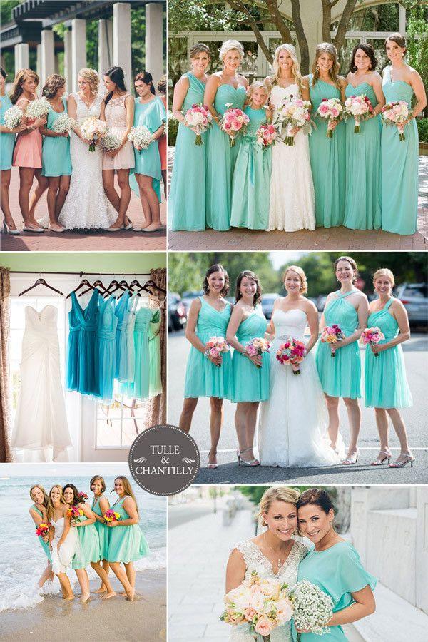 turquoise blue spring 2015 bridesmaid dresses styles http://www.jexshop.com/