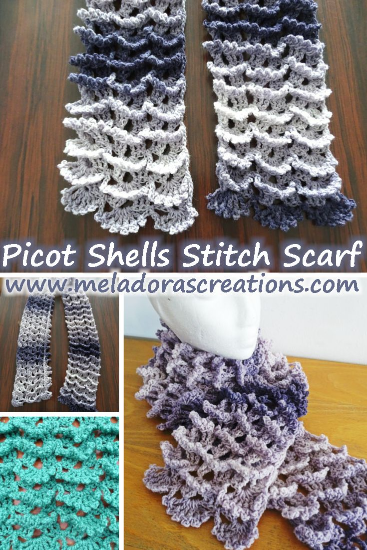 Picot Shell Stitch Scarf - Free Pattern and Video tutorials - By Meladora's Creations
