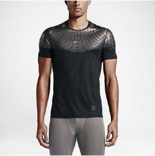 Nike Pro Training Shirt Hypercool Max Fitted BLACK and SILVER Mens XL 744281 010 #Nike #BaseLayers