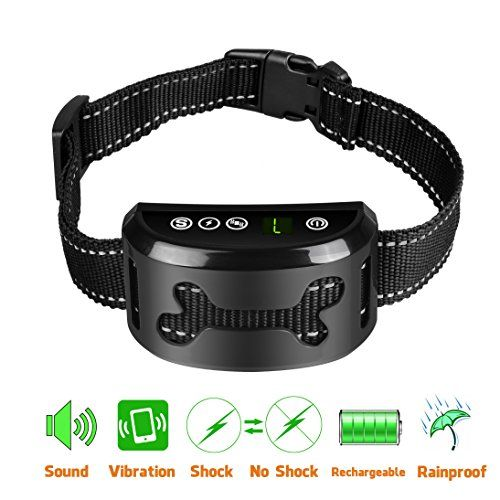 Bark Collar [2018 Upgrade Version] No Bark Collar Dog Small Bark Collar Shock Collar with Beep Vibration Harmless Shock Rechargeable Anti Bark Control Device for Small Medium Large Dogs - Features: - High Quality:The bark collar is made of strong casing with metal probe and comfortable, adjustable reflective strap for ensuring the safety of your dog. - Easy To Use: The dog small bark collar has a digital display with touch buttons for power, vibration, shock & sensitivity button. ...