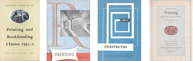 The Guildford School of Art Archive contains material regarding the student protest over the quality of art teaching, prospectuses relating to book binding, printing and photography, and press cuttings.    (A selection of prospectuses from the Guildford School of Art)