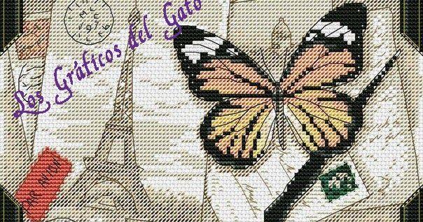 Bonito gráfico de una mariposa y la Torre Eiffel...