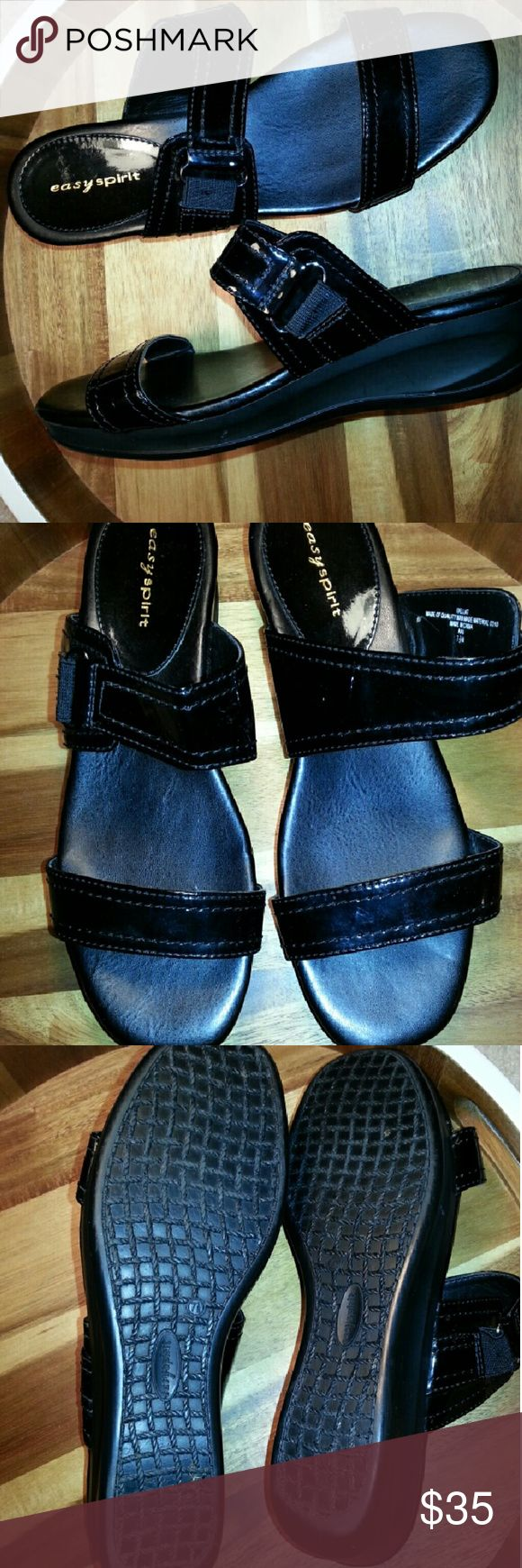 """EASY SPIRIT Black Patent Double Strap Sandals Adorable """"IDELLAT"""" black patent slide sandals with double strap; Main strap across foot has elastic; Man Made with a 2"""" wedge; Excellent condition Easy Spirit Shoes Sandals"""