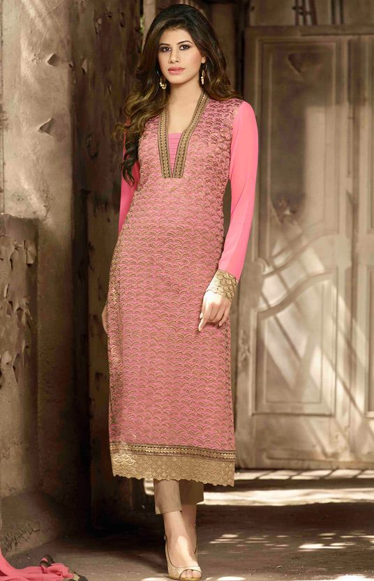 USD 38.66 Pink Georgette Pakistani Style Suit 55900