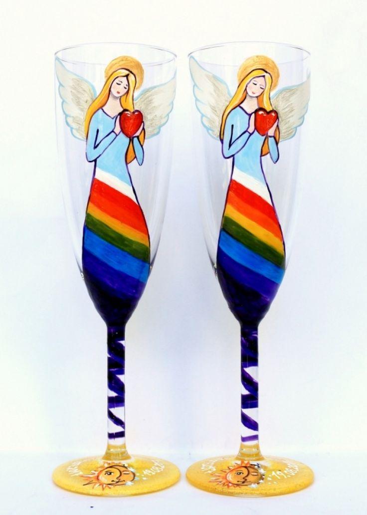 """Set+pahare+nunta+""""Rainbow+Angel"""""""