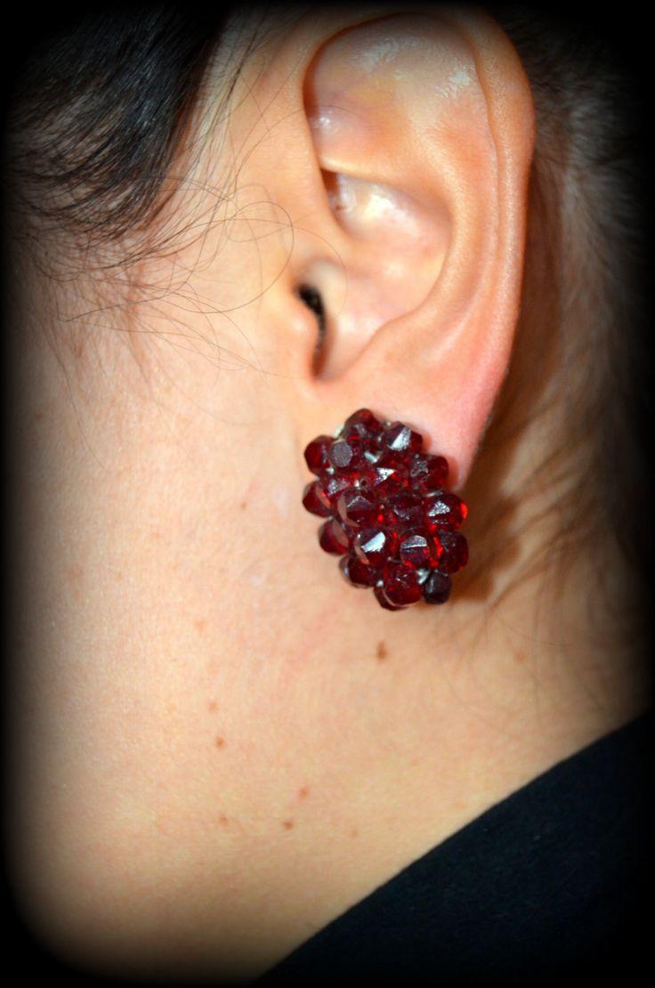 1950s/60s Vintage garnet clip earrings ~ Garnet Beaded Clip earrings by CatsAndHatsVintage on Etsy