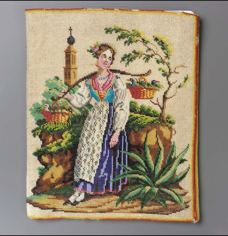 1830-1850, Western Europe - Flat bag - Cotton and beadwork