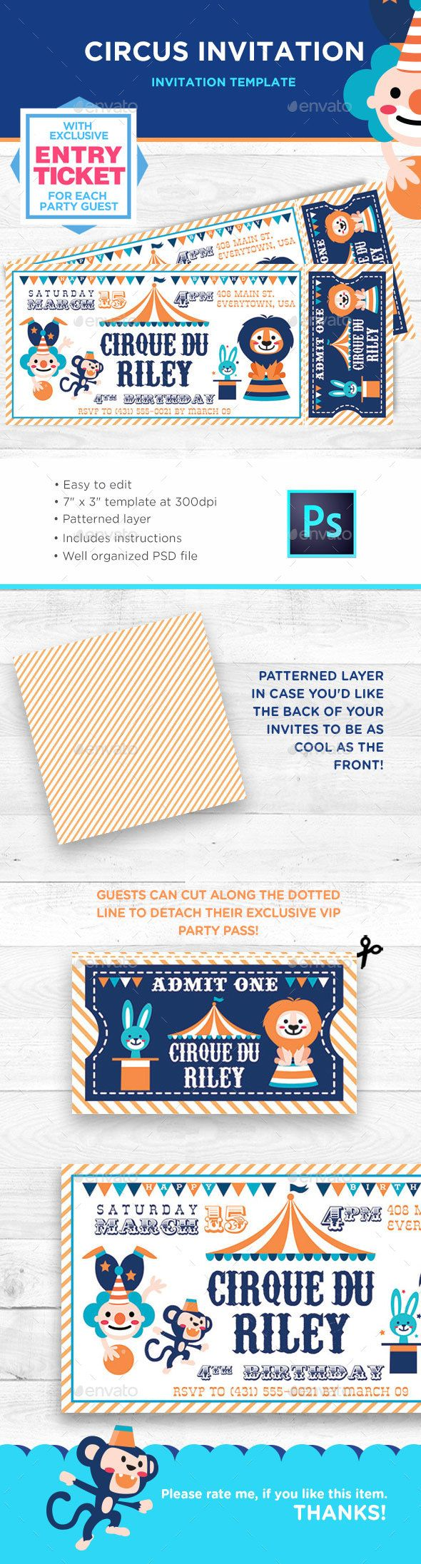 Circus Birthday Invitation - Birthday Greeting Cards
