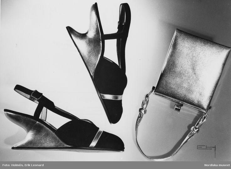 1948. Silverfärgad handväska och aftonskor med silverfärgad sula. Foto: Erik Holmén