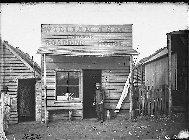 William A. Sac's Chinese Boarding House, Gulgong, 1871-1875 / American & Australasian Photographic Company Discover more about Australian gold rush history and Chinese immigrants and miners at: http://www.sl.nsw.gov.au/discover_collections/history_nation/gold/minority/index.html Find more information about this image: http://acms.sl.nsw.gov.au/item/itemDetailPaged.aspx?itemID=62115 From the collections of the Mitchell Library, State Library of New South Wales www.sl.nsw.gov.au